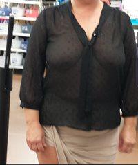 My wifey walking around Walmart with a see thru shirt.  No jacket or backup...